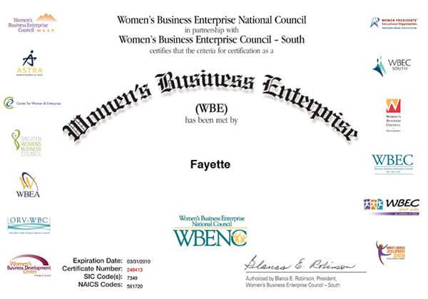 Women's Business Enterprise Certificate
